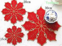 NEW red embroidery table place mat cloth placemat pot Cup mug holder felt glass coaster dining doily drink pad Christmas kitchen(China)