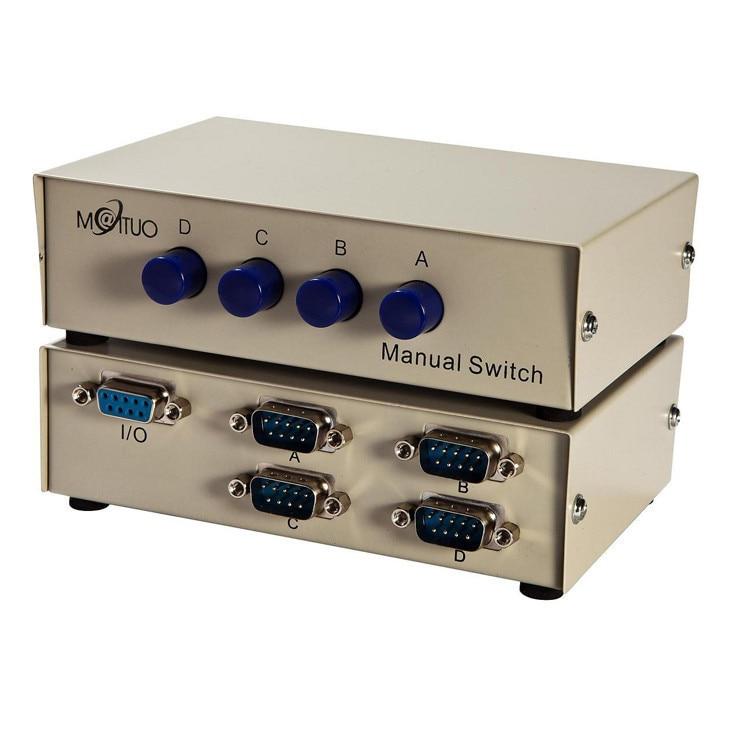 2Pcs PC Printer DB9 Pin 2Ports Manual Serial RS232 Switch Box Metal Housing