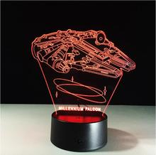 Color Change 3D Night Light LED Lamp Luminaria Star Wars Millennium Falcon LED Lighting Home Decor Table Lamp Nightlight for Kid