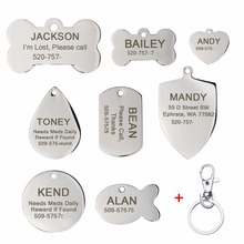 Carrywon Pets Anti-lost ID Tag ID Dog Cat Engraving Text Stainless Steel Engraved Pet Name Card Free Customized Address Tags(China)