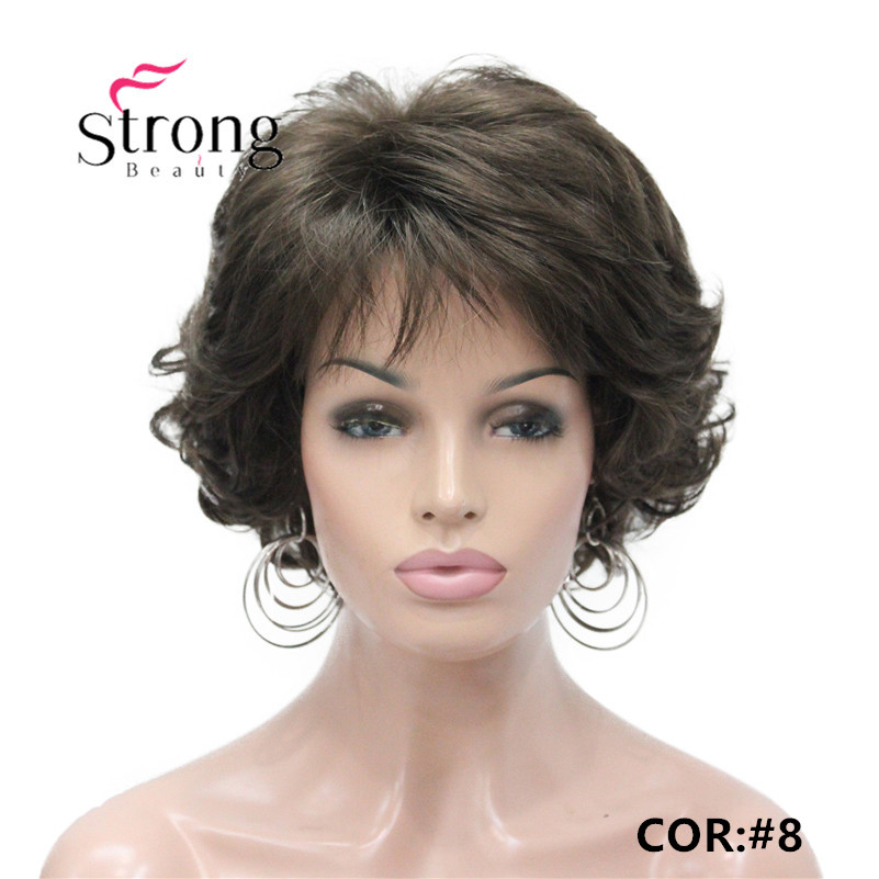E-7125 #8 New Wavy Curly wig Medium Brown cloor 8# Short Synthetic Hair Full Women's wigs (1)_