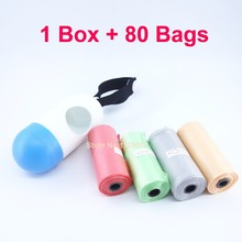 Portable Plastic Dispenser Box with 80PCS Disposable Diaper Bag Refill bags For Baby Can Hang on the Pram Color Random(China)