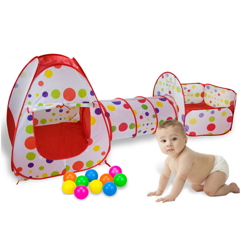 3 In 1 Portable Kids Tent Fencing for Children Indoor Baby Playpen Fence Baby Fence Play Yard Tunnel Play House Playpen Game<br>
