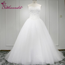 Real Photos White Glitter Tulle Elegant A Line Wedding Dress Sweetheart Applique V Waistline Bridal Wedding Gown Plus Size