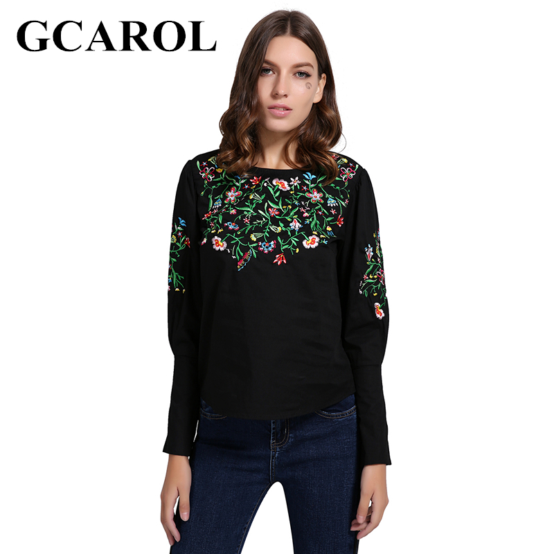 GCAROL Euro Style Embroidery Floral Women Blouse Puff Sleeve Zipper High Black Smock Vintage Tops
