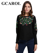 Buy GCAROL Euro Style Embroidery Floral Women Blouse Puff Sleeve Zipper High Black Smock Vintage Tops for $13.99 in AliExpress store