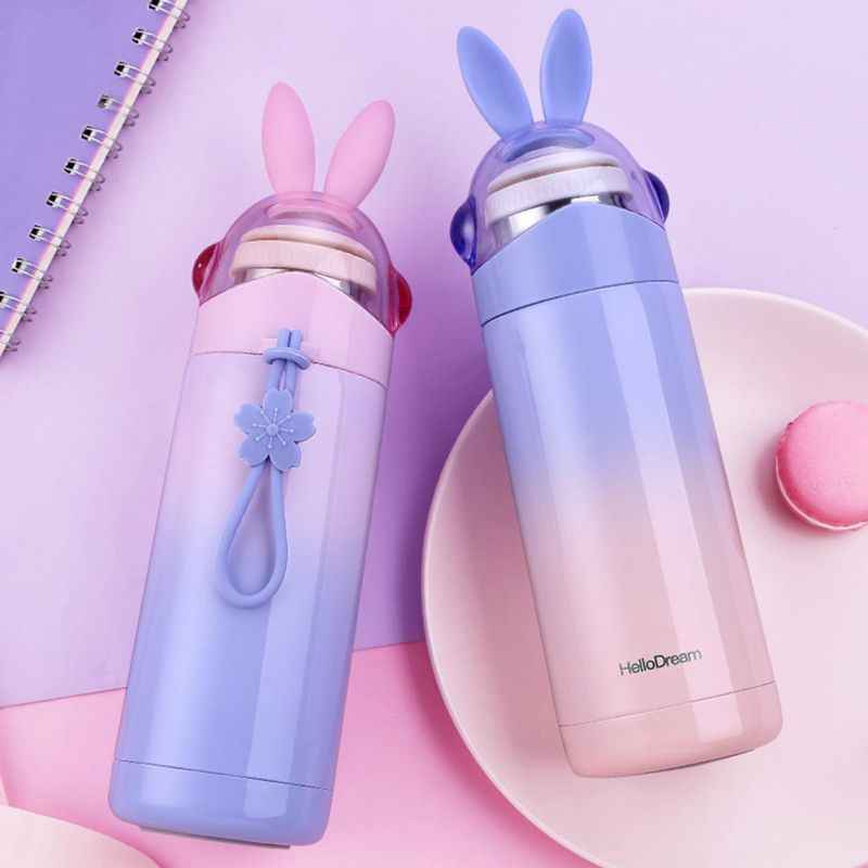 Cartoon Vacuum Flasks Water Bottle 350ML Rabbit Ear Vacuum Cup with Holder Portable Outdoor Kids Student Supplies