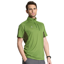 Men's Summer Quick Dry Clothing Short Sleeve Sportwear Stand Collar Outdoor T Shirts Breathable Trekking Hiking Tee RM027