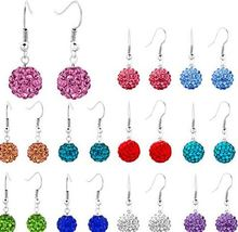 10mm Clay Mixed white Crystal Micro Pave Disco Ball Silver Plated Shamballa Earrings Dorp Studs jewelry dangles lot women men