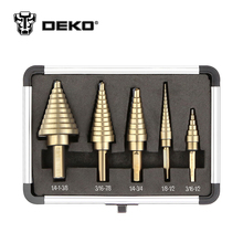 DEKO 5pcs/Set HSS Cobalt Multiple Hole 50 Sizes Step Drill Cone Drill Bits Set with Aluminum Case(China)