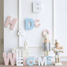 New Creative English Letters Decoration Crafts Photography props DIY Wooden 3D Wall Hanging Decorative Figurines Children Gift(China)