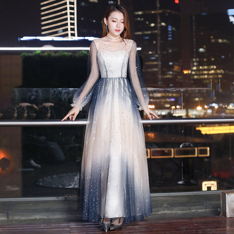 2019 Women Noble Sequin Evening Dresses Tulle V-neck Formal Prom Gown Long Ruffles Gradient Princess Wedding Party dress