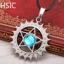 HSIC Dropshipping Hot Blue Crystal Pendant Anime Black Butler Metal Necklace Demon Contract Cosplay Accessories Gifts HSIC10463(China)