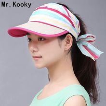 Mr.Kooky New Arrival Women Lady Girls Fashion Summer Empty Top Hats Female Casual Stripe Travel Beach Sun Hats Visor Caps Gifts(China)