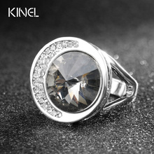 Luxury Punk Rock Bands Unusual Gray Austrian Crystal Wedding Rings For Women Silver Color Vintage Jewelry Wholesale(China)