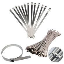 10PCS STAINLESS STEEL METAL CABLE TIES TIE ZIP WRAP EXHAUST HEAT STRAPS INDUCTION PIPE(China)