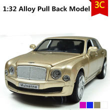 Luxury Bentley Mulasanne car model, 1:32 scale Alloy Pull Back cars,Diecast suv,flashing boy,girls toys,free shipping
