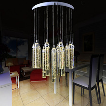 LED bubble crystal column restaurant lamp chandelier creative living room lamps stainless steel modern simple led lighting lamps(China)