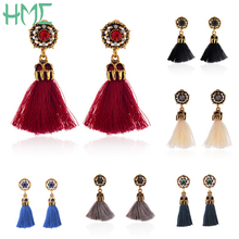 Wholesale Fine Vintage Court Style Baroque Fashion Hollow Out Tassel Earrings 6 Color 1pair/bag For Women Accessories(China)