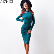 Buy AIZHIXI Fashion Roses Appliques Sheath Autumn Dress 2017 Women Casual Turtleneck Long Sleeve Knee Length Sexy Bodycon Dresses for $5.99 in AliExpress store