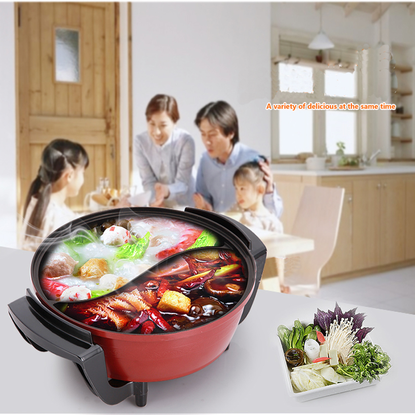 1PC  Electric  Multifunctional  hot pot mandarin duck pot hot pot mandarin duck cooker electric yuanyang pot 1500W 6L<br>