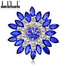 Large Red Blue Rhinestone Brooches Wedding Bouquet Flowers  Brooch Pins For Women Cheap Fashion Jewelry Clothes Accessoris