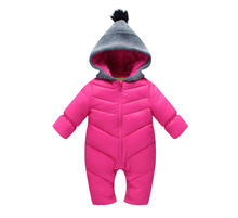 2016 fashion winter children's rompers baby solid thicken outwear one pieces girls boys suits clothes