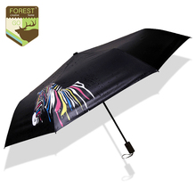 HOT Creative Cute Zebra Funny Folding Umbrellas Clear UV Sunscreen Novelty Discolor Rain Gear Black Coating Umbrella Rain Women(China)