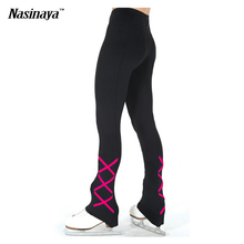 Customized ice skating long pants Figure Skating Pants Trousers fleece Adult Child Girl Competition Performance Cross Stripes