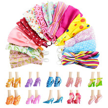 New 22 PCS/set Handmade Party 12 Clothes Fashion Mixed style Dress + 10 Pair Accessories Shoes for Barbie Doll Best Gift GirlToy(China)