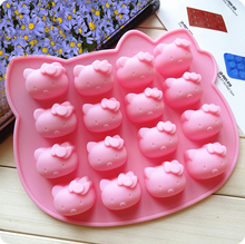 16 Cavity Hello Kitty Silicone cake mold ,  Chocolate / Jelly / Pudding Mold , Cake Decorating Tools  Soap mold