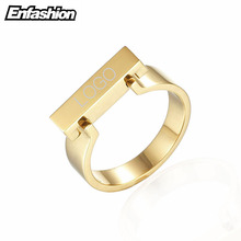 Enfashion Personalized Engraved Name Rings Gold color Midi Ring Flar Bar Knuckle Rings For Women Jewelry Bagues Anillos