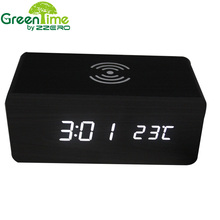 Wooden  Alarm Clock Cube Digital LED Voice Control Wireless QI Charging for Phone Thermometer wekker klok Clock Despertador