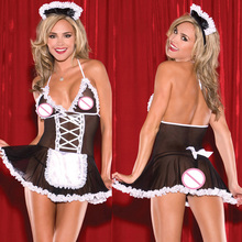 Buy New Erotic Lingerie Maid Costumes Temptation Lace Black White Porn Babydoll Costumes Maid Uniform Cosplay Lingerie Plus Size