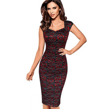 Womens Dress Sexy Elegant Summer Floral Flower Lace Cap Sleeve Slim Casual Party Fitted Sheath Bodycon Dress 404(China)