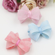 Free Shipping 30PCS Lace Chiffon Knot Bows handmade Craft Fit for Toddler Kids Girls Hair Jewelry Clips Headband Decoration