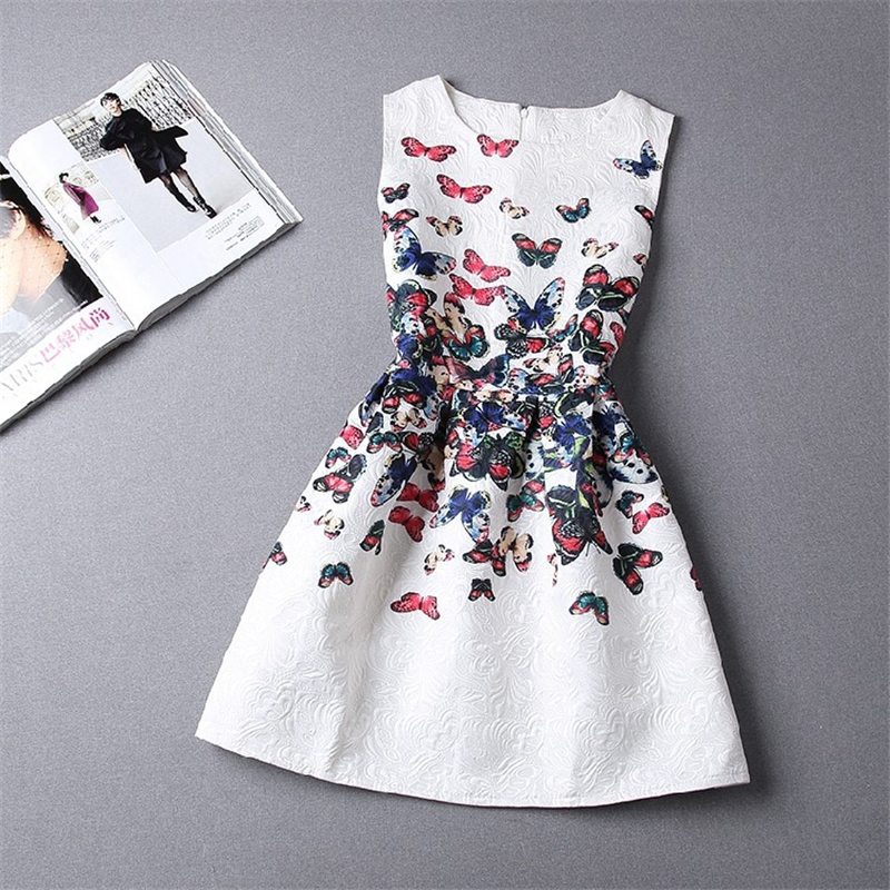 summer flower girls party dress Teens Casual Sleeveless Floral Dresses European Style Party Dresses Long Sleeve Clothing<br><br>Aliexpress