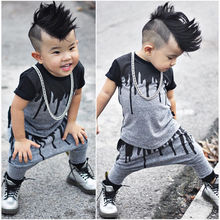 Toddler Hot Sale Summer Clothes Set 2016 Kids Baby Boy T-shirt Tops+Harem Pants Trousers Outfits Clothing Set(China)