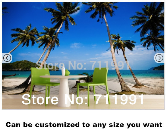 Free shipping Palm Tree Landscape Wall Mural wallpaper<br>