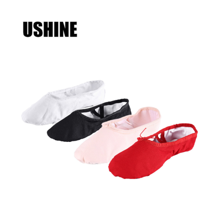 USHINE Yoga Slippers Gym Teacher Yoga Ballet Dance Shoes For Girls Women Ballet Shoes Canvas Kids Children(China)