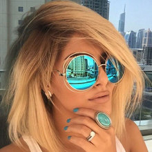 Vintage Round Big Size Oversized lens Mirror Brand Designer Pink Sunglasses Lady Cool Retro UV400 Women Sun Glasses Female