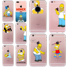 Homer Case for iphone 6 6s 5 5s SE 7 plus Cartoon Fundas Simpsons Cheap Cover Ultra-thin Soft TPU Silicone Transparent Coque(China)