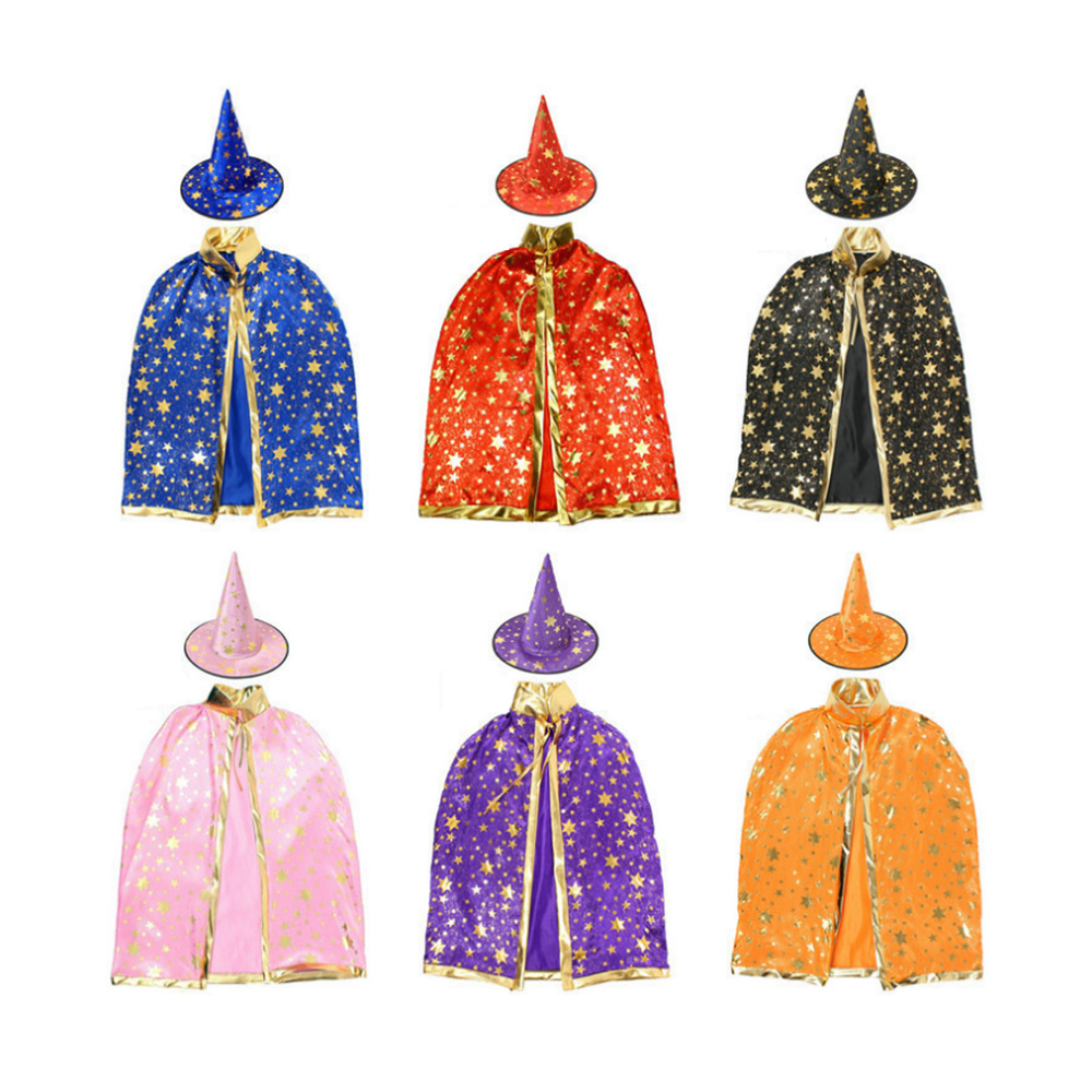 Halloween Children Wizard Cloak Cape Robe Witch Hat Fancy Star Pattern Masquerade Cosplay Festival School Party Supplies Aliexpress