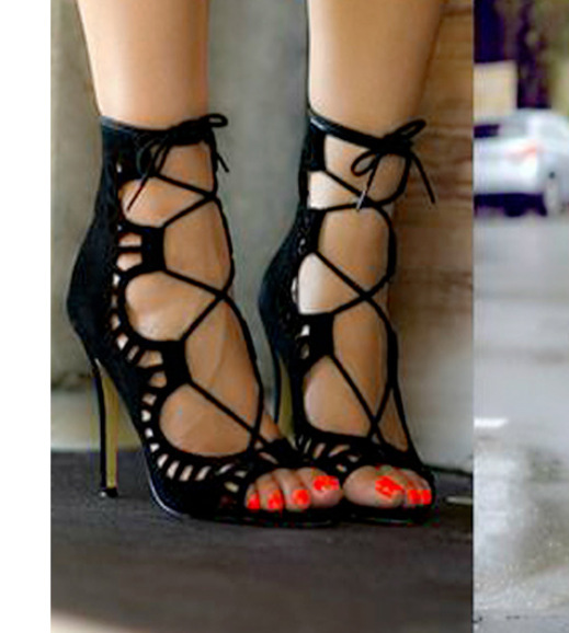 2016 Hot Sale Women Pumps Lace Up Strappy Open Toe High Heels Hollow Out Ankle Summer Boots High Heel Sandals Wedding Zapatos<br><br>Aliexpress