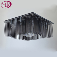 Luxury Modern Black Crystal Ceiling Lamp Living Room Square Home Decoration Lighting Fixture LED Lustres De Cristal(China)