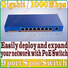 Max. PoE 121W 9 port 8 PoE Gigabit 1000M switch IEEE802.3af PoE suit for all kind of PoE camera or AP Network Switches Plug&Play(China)