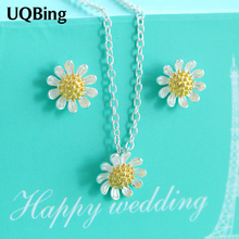 Drop Shipping 925 Sterling Silver Necklaces Daisy Flower Pendants&Necklaces Jewelry Collar Colar de Plata(China)