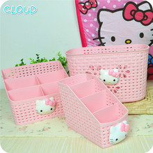 Hot Sale Cute Hello Kitty Multifunction Office Desktop Storage Boxes Makeup Organizer Storage Box(China)