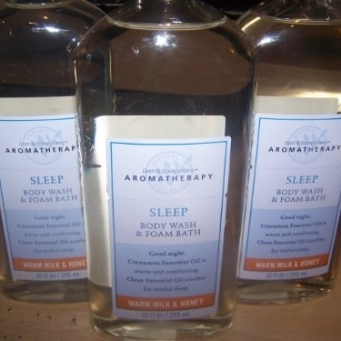 Lot of 3 Bath & Body Works Aromatherapy Sleep Warm Milk and Honey Body Wash & Foam Bath 10 Fl Oz (Warm Milk and Honey Sleep)