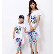 Mother Daughter Dresses Fashion Family Mother Daughter Clothing Sets Cat Design Dress+Legging 2pcs/lot Family Matching Clothes(China)